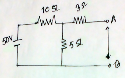Apply Thevenin's Theorem of the following circuit and find the equivalent voltage and resistance terminal AB.