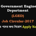 Local Government Engineering Department (LGED) Job Circular-2017